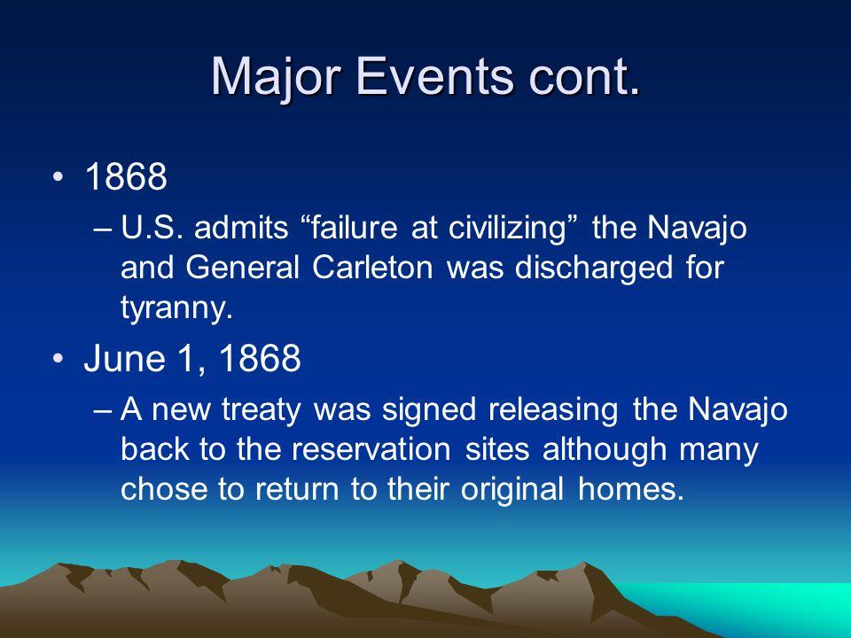 Major Events cont. 1868 –U.S.