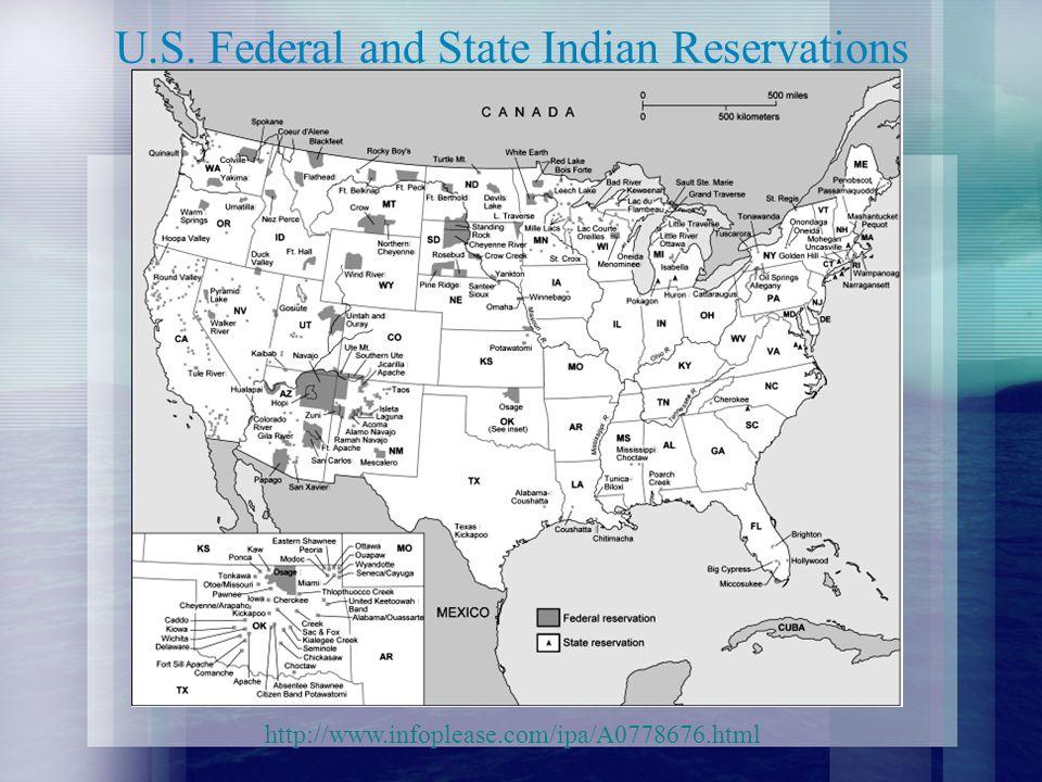 Tribal Population – 2000 US Census Apache96,833 Blackfeet85,750 Cherokee729,533 Cheyenne18,204 Chickasaw38,351 Choctaw158,774Colville9,393 Comanche19,376 Chippewa149,669 Cree7,734 Creek71,310 Crow13,394 Delaware16,341 Houma8,713 Iroquois80,822 Kiowa12,242 Latin American Indian180,940 Lumbee57,868 Menominee9,840 Navajo298,197 Osage15,897 Ottawa10,677 Paiute13,532 Pima11,493 Potawatomi25,595 Pueblo74,085 Puget Sound Salish14,631 Seminole27,431 Shoshone12,026 Sioux153,360 TohonoO odham20,087 Ute10,385 Yakama10,851 Yaqui22,412 Yuman8,976 Other specified American Indian tribes357,658 American Indian tribe, not specified195,902 AlaskaAthabascan18,838 Aleut16,978 Eskimo54,761 Tlingit-Haida22,365 Other specified Alaska Native tribes3,973 Alaska Native tribe, not specified8,702 American Indian or Alaska Native tribe, not specified1,056,457 Source: U.S.
