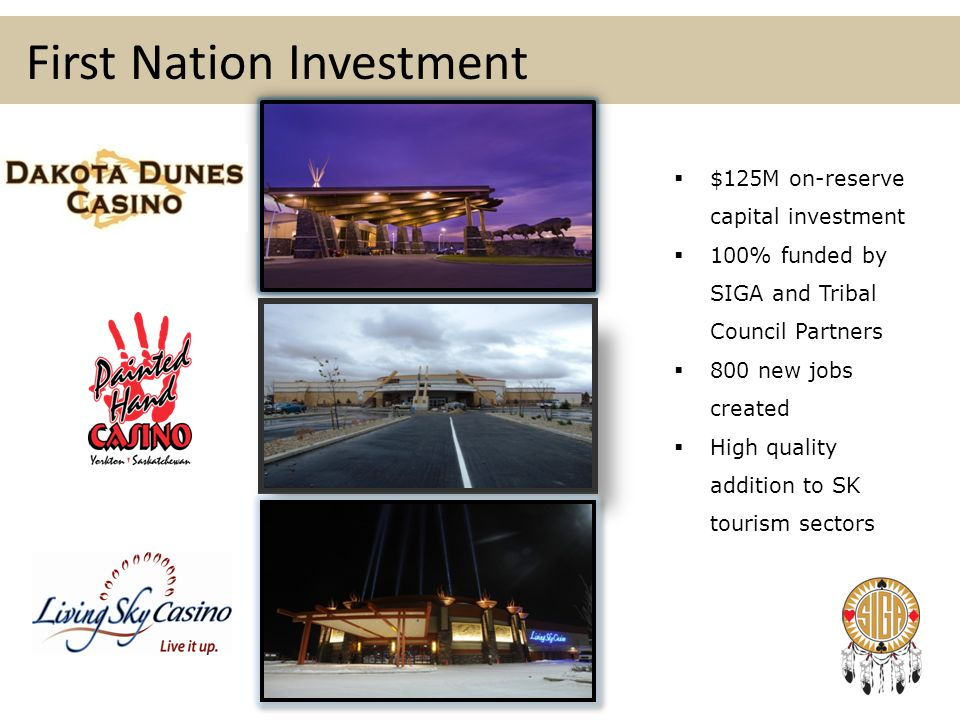 First Nation Investment  $125M on-reserve capital investment  100% funded by SIGA and Tribal Council Partners  800 new jobs created  High quality