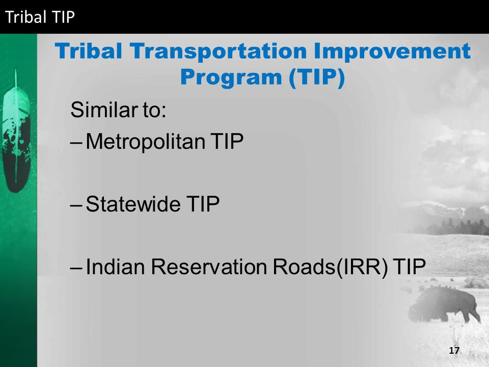 Tribal Transportation Improvement Program (TIP) Similar to: –Metropolitan TIP –Statewide TIP –Indian Reservation Roads(IRR) TIP Tribal TIP 17