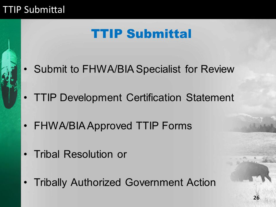TTIP Submittal Submit to FHWA/BIA Specialist for Review TTIP Development Certification Statement FHWA/BIA Approved TTIP Forms Tribal Resolution or Tri