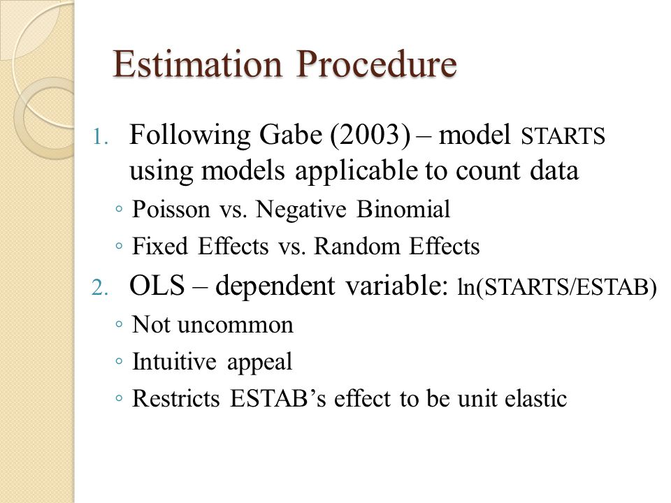 Estimation Procedure 1. Following Gabe (2003) – model STARTS using models applicable to count data ◦ Poisson vs. Negative Binomial ◦ Fixed Effects vs.