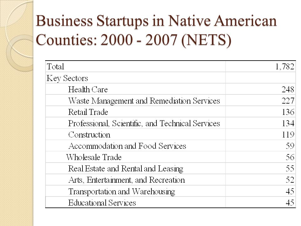 Business Startups in Native American Counties: 2000 - 2007 (NETS)