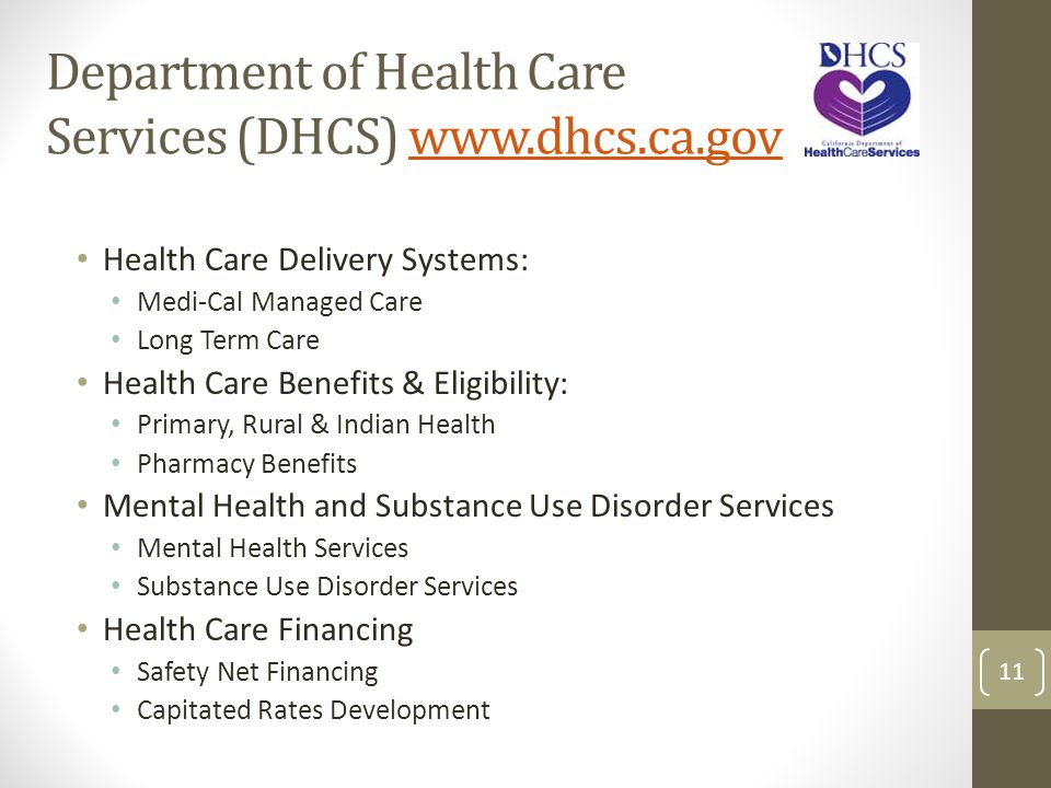 Department of Health Care Services (DHCS) www.dhcs.ca.govwww.dhcs.ca.gov Health Care Delivery Systems: Medi-Cal Managed Care Long Term Care Health Car