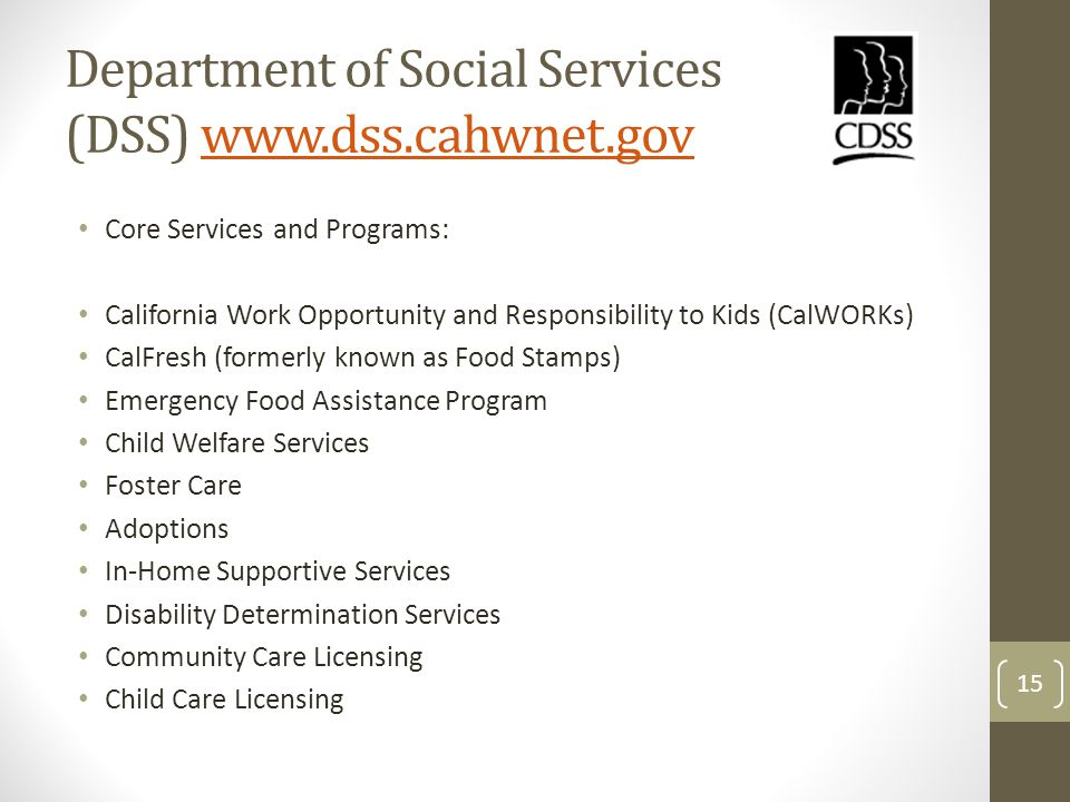 Department of Social Services (DSS) www.dss.cahwnet.govwww.dss.cahwnet.gov Core Services and Programs: California Work Opportunity and Responsibility