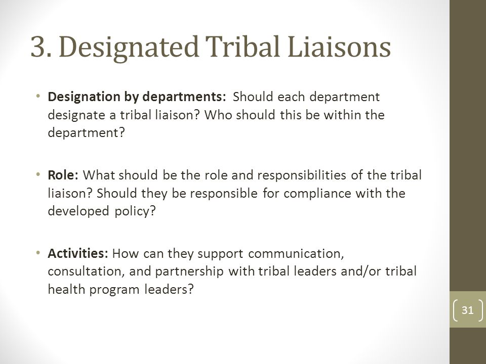 3. Designated Tribal Liaisons Designation by departments: Should each department designate a tribal liaison? Who should this be within the department?