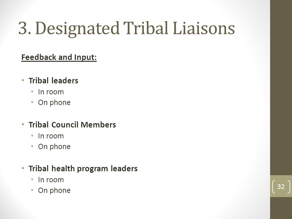 3. Designated Tribal Liaisons Feedback and Input: Tribal leaders In room On phone Tribal Council Members In room On phone Tribal health program leader