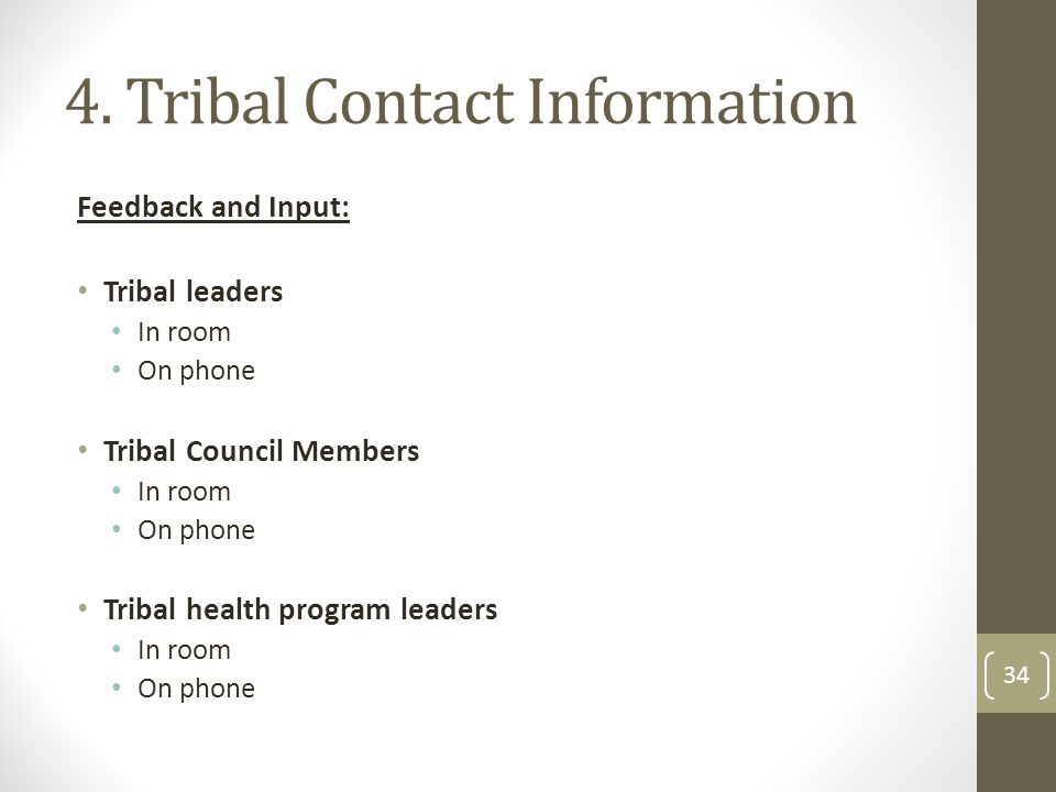 4. Tribal Contact Information Feedback and Input: Tribal leaders In room On phone Tribal Council Members In room On phone Tribal health program leader