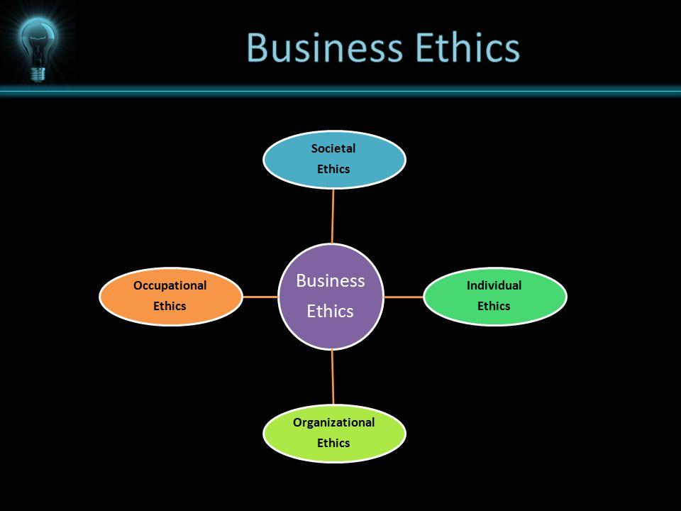 Business Ethics Societal Ethics Individual Ethics Organizational Ethics Occupational Ethics