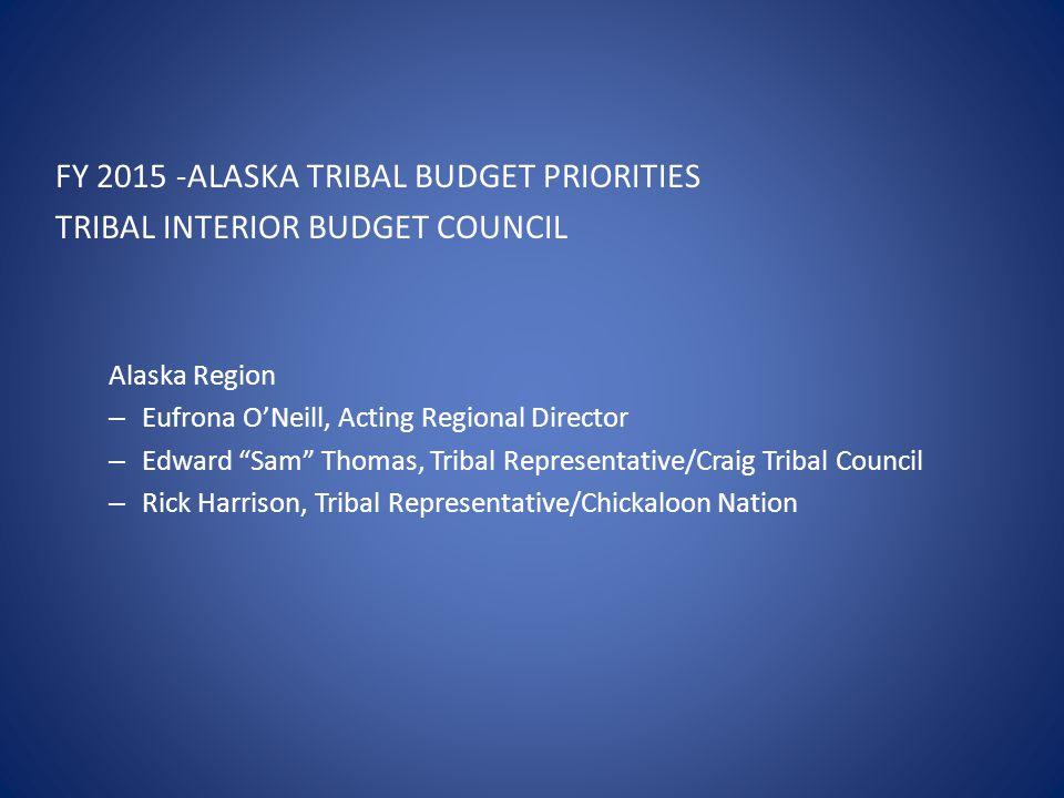 "FY 2015 -ALASKA TRIBAL BUDGET PRIORITIES TRIBAL INTERIOR BUDGET COUNCIL Alaska Region – Eufrona O'Neill, Acting Regional Director – Edward ""Sam"" Thoma"