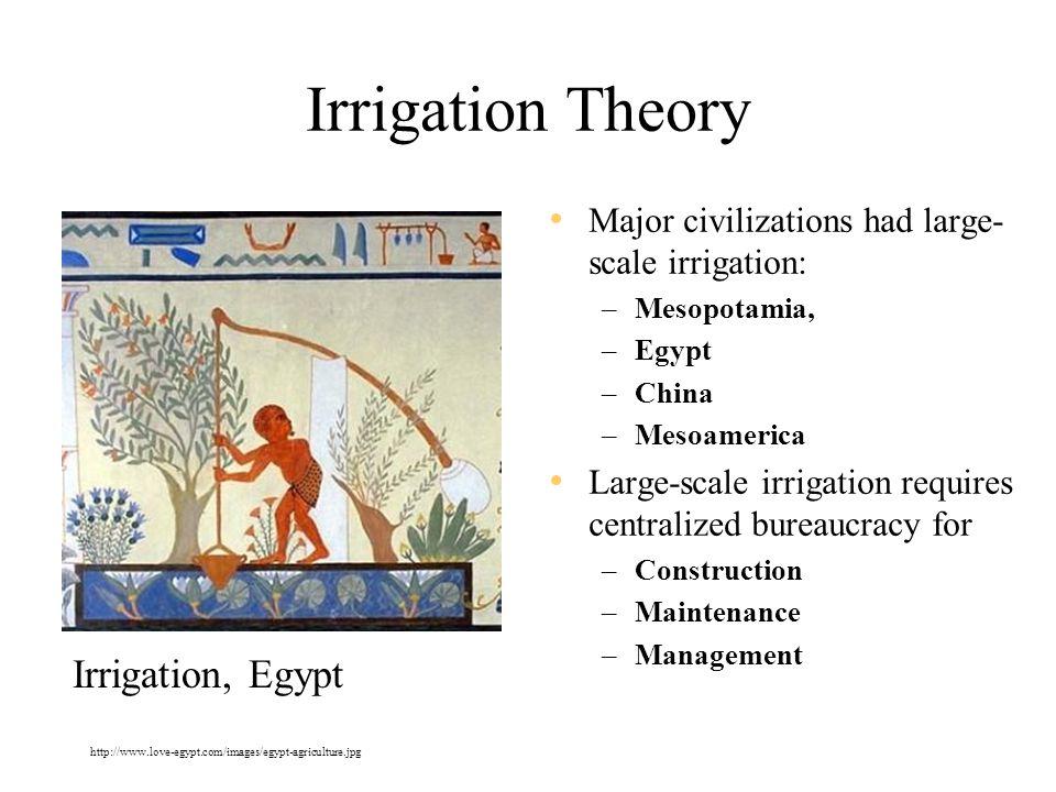 Irrigation Theory Major civilizations had large- scale irrigation: –Mesopotamia, –Egypt –China –Mesoamerica Large-scale irrigation requires centralize