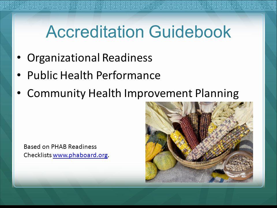 Accreditation Guidebook Organizational Readiness Public Health Performance Community Health Improvement Planning Based on PHAB Readiness Checklists www.phaboard.org.www.phaboard.org