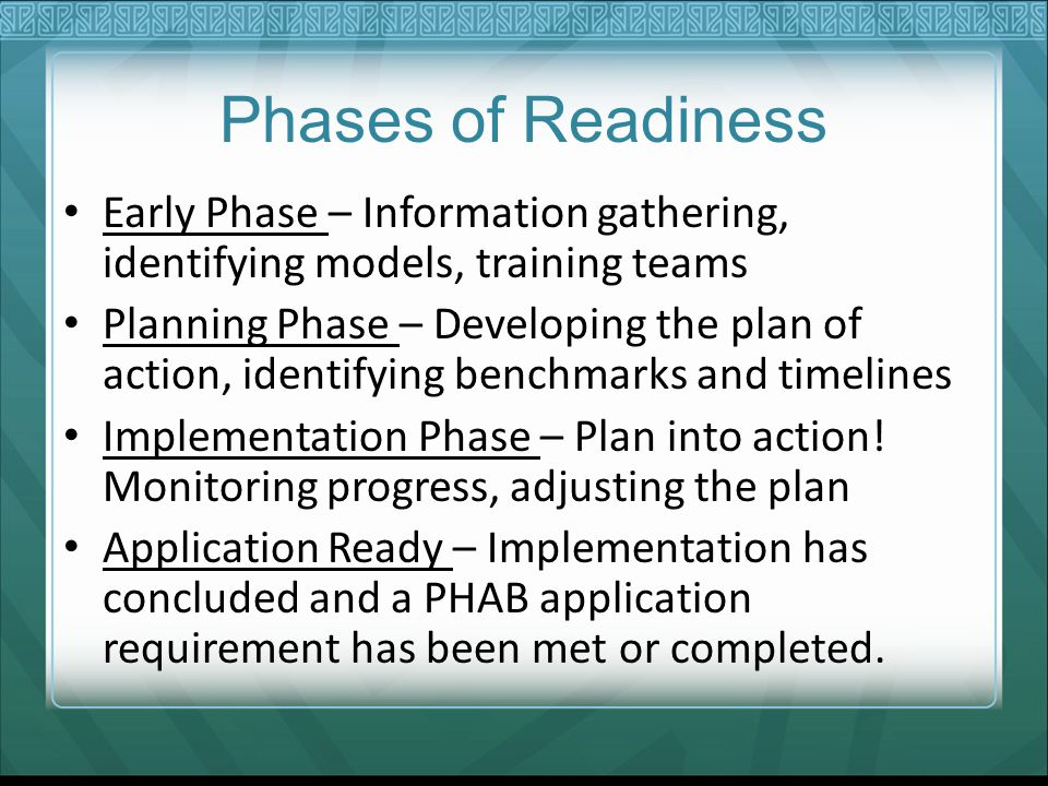 Phases of Readiness Early Phase – Information gathering, identifying models, training teams Planning Phase – Developing the plan of action, identifying benchmarks and timelines Implementation Phase – Plan into action.