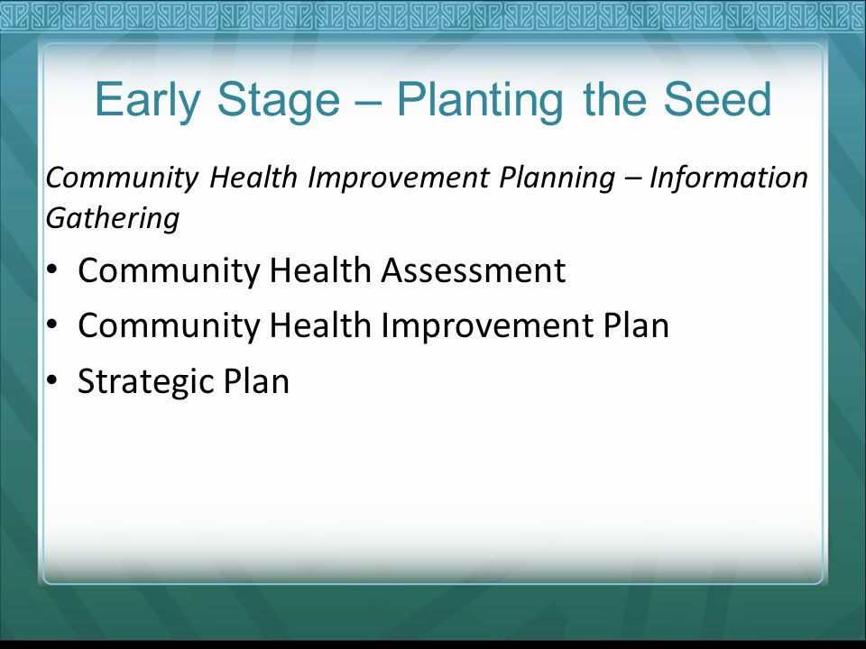 Early Stage – Planting the Seed Community Health Improvement Planning – Information Gathering Community Health Assessment Community Health Improvement Plan Strategic Plan