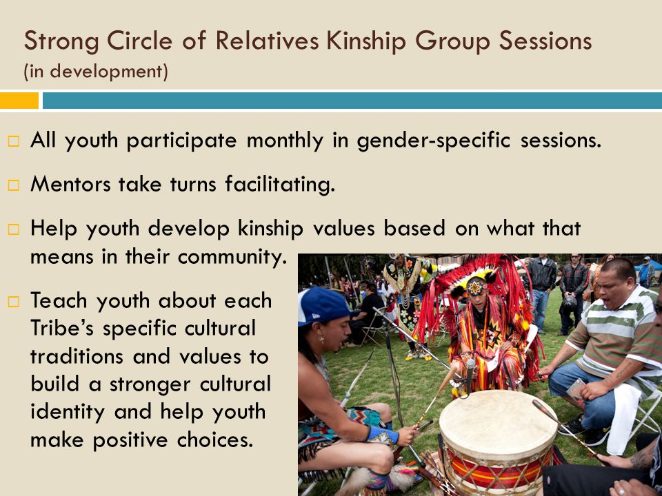 Strong Circle of Relatives Kinship Group Sessions (in development)  All youth participate monthly in gender-specific sessions.