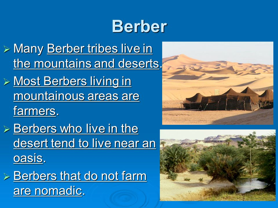 Berber  Many Berber tribes live in the mountains and deserts.  Most Berbers living in mountainous areas are farmers.  Berbers who live in the deser