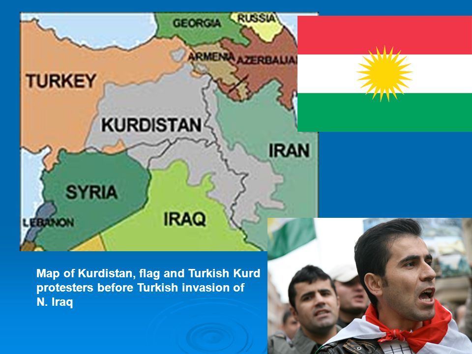 Map of Kurdistan, flag and Turkish Kurd protesters before Turkish invasion of N. Iraq