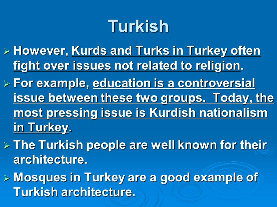 Turkish  However, Kurds and Turks in Turkey often fight over issues not related to religion.