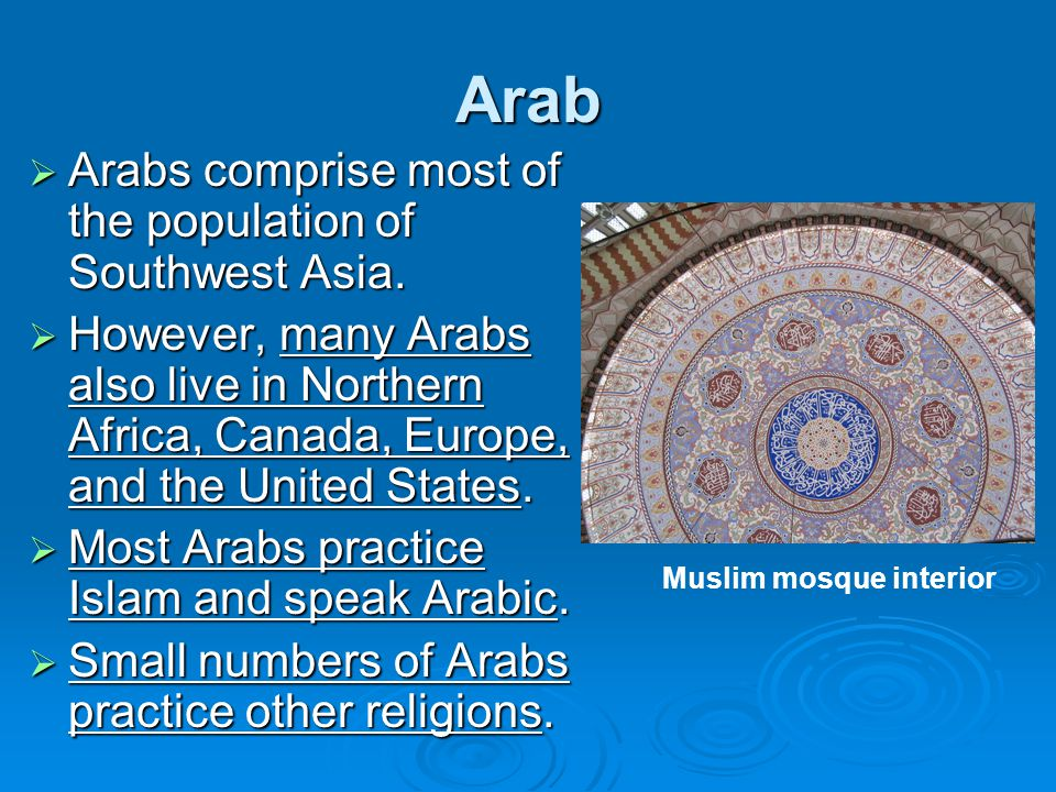 Arab  Arabs comprise most of the population of Southwest Asia.