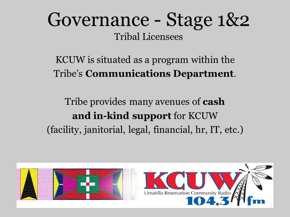Governance - Stage 1&2 Tribal Licensees KCUW is situated as a program within the Tribe's Communications Department.