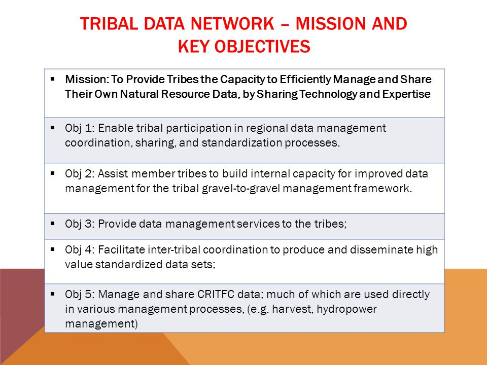 ENABLE TRIBAL PARTICIPATION IN REGIONAL PROCESSES Tribal Data Workshop Coordinated Assessment (CBFWA/PNAMP/StreamNet) Pacific Northwest Aquatic Monitoring Partnership Columbia Basin Fish Accords US v OR Pacific Salmon Commission (PSC)