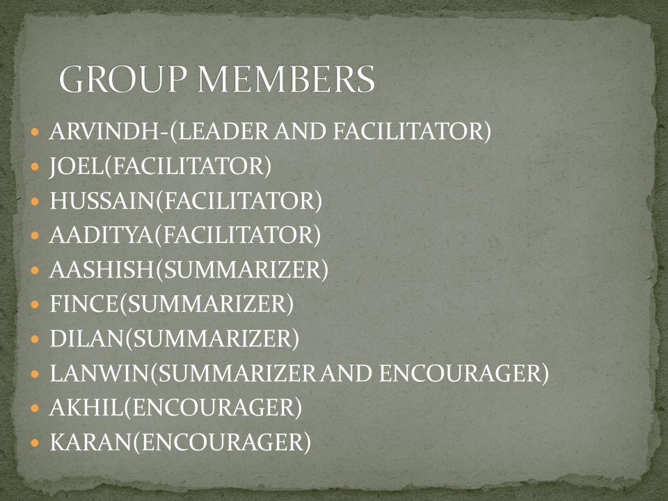 ARVINDH-(LEADER AND FACILITATOR) JOEL(FACILITATOR) HUSSAIN(FACILITATOR) AADITYA(FACILITATOR) AASHISH(SUMMARIZER) FINCE(SUMMARIZER) DILAN(SUMMARIZER) LANWIN(SUMMARIZER AND ENCOURAGER) AKHIL(ENCOURAGER) KARAN(ENCOURAGER)