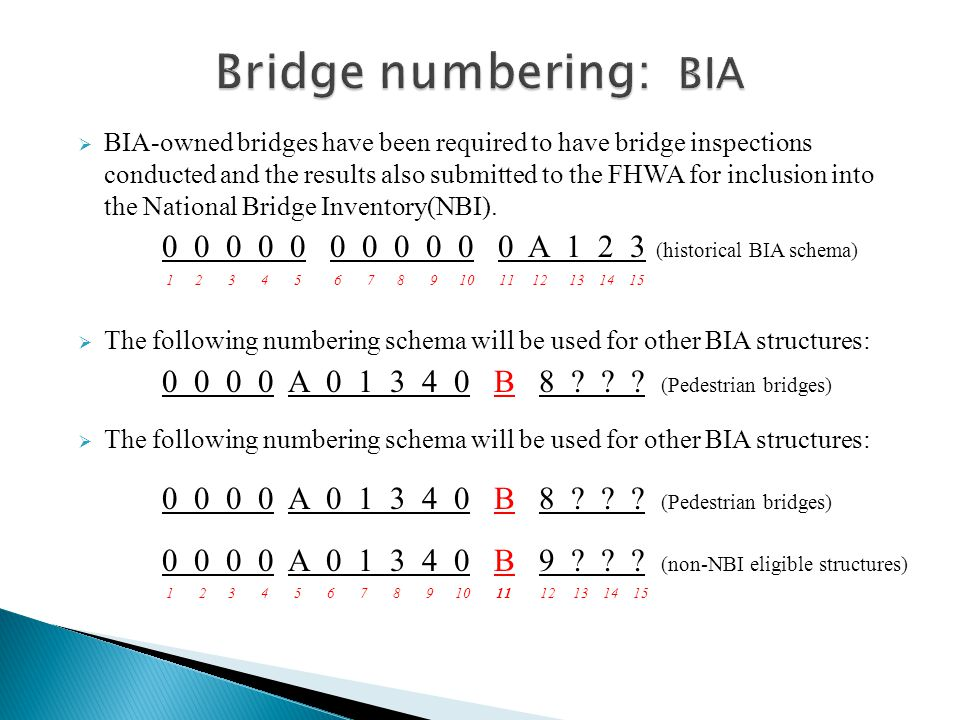  BIA-owned bridges have been required to have bridge inspections conducted and the results also submitted to the FHWA for inclusion into the National Bridge Inventory(NBI).