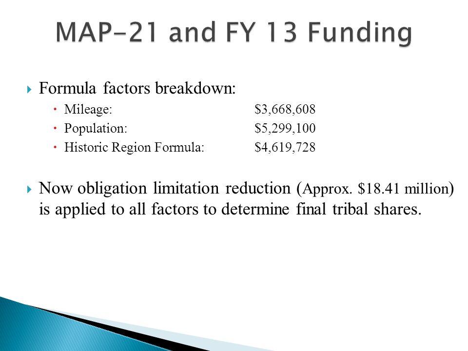  Formula factors breakdown:  Mileage:$3,668,608  Population:$5,299,100  Historic Region Formula:$4,619,728  Now obligation limitation reduction ( Approx.