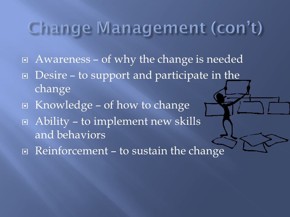  Awareness – of why the change is needed  Desire – to support and participate in the change  Knowledge – of how to change  Ability – to implement