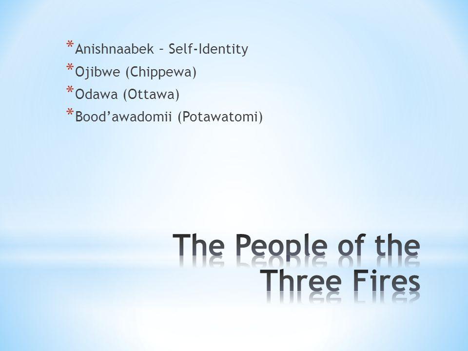 * Anishnaabek – Self-Identity * Ojibwe (Chippewa) * Odawa (Ottawa) * Bood'awadomii (Potawatomi)