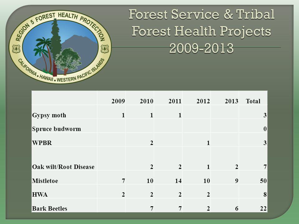 20092010201120122013Total Gypsy moth111 3 Spruce budworm 0 WPBR 2 1 3 Oak wilt/Root Disease 22127 Mistletoe7101410950 HWA2222 8 Bark Beetles 772622
