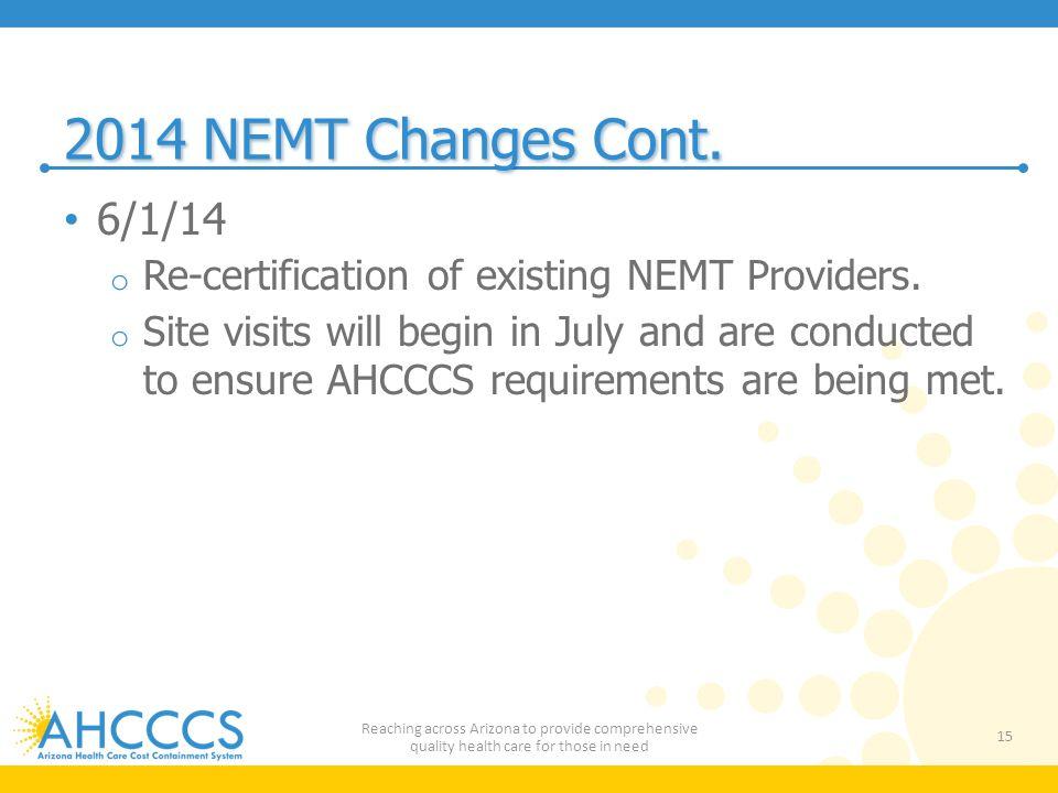 2014 NEMT Changes Cont.6/1/14 o Re-certification of existing NEMT Providers.