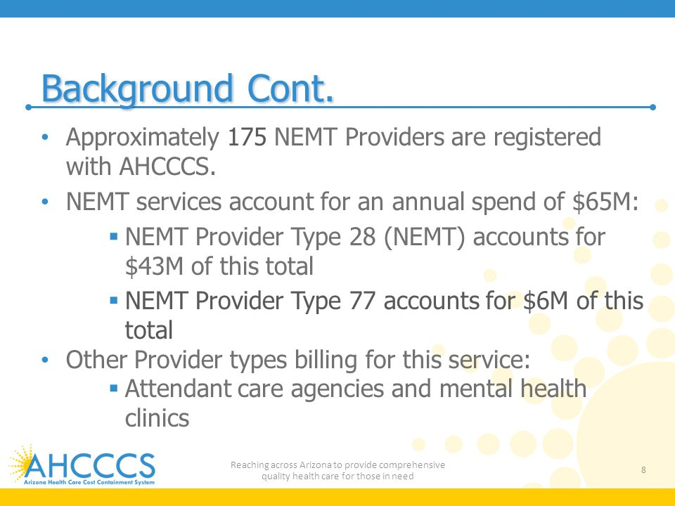 Background Cont.Approximately 175 NEMT Providers are registered with AHCCCS.