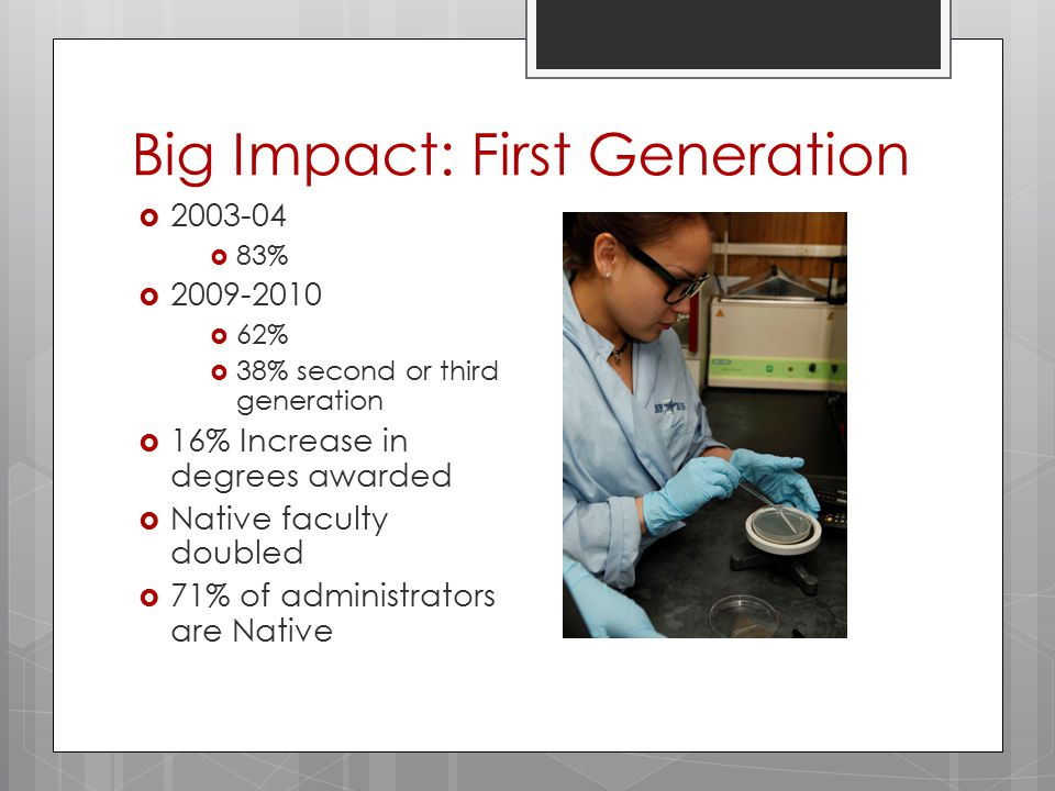 Big Impact: First Generation  2003-04  83%  2009-2010  62%  38% second or third generation  16% Increase in degrees awarded  Native faculty doubled  71% of administrators are Native