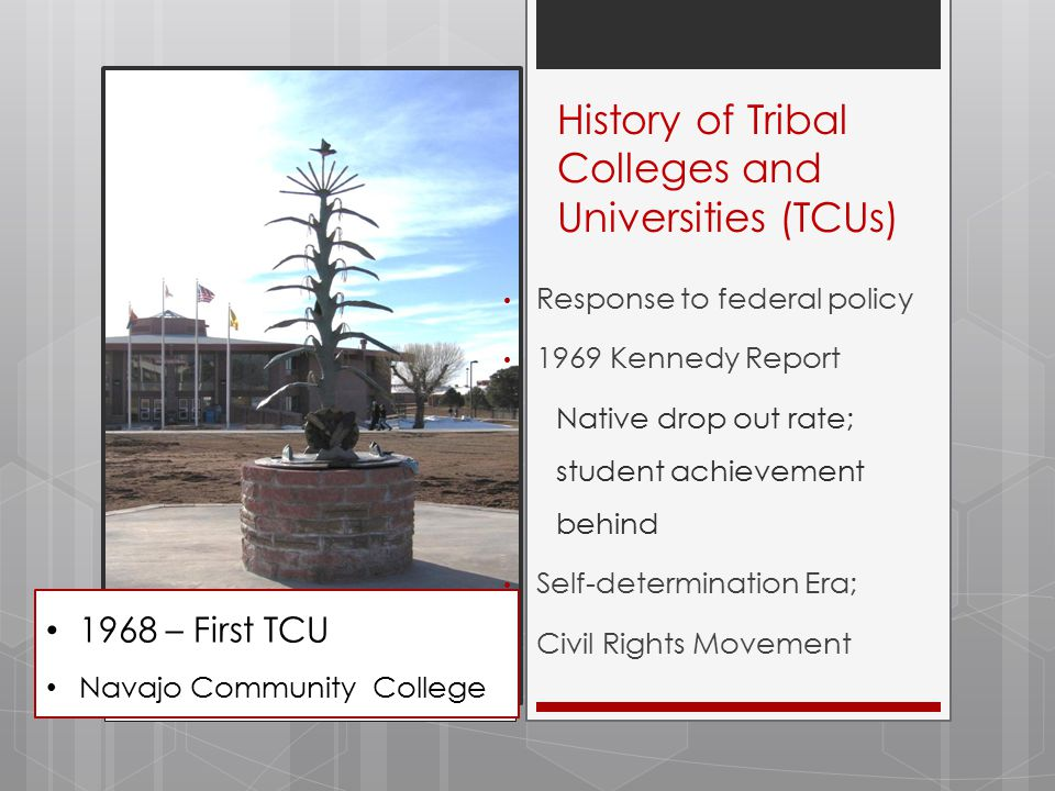 2012  37 TCUs – 33 accredited  Student count: 50 to 2,000  4 out of 5 are Native  Total: 20,000 – 250 tribes  358 academic programs  36 associate degrees  13 bachelor's degrees  2 master's degrees