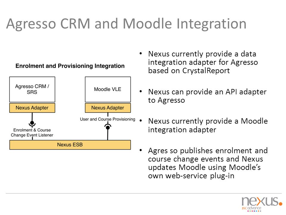 Agresso CRM and Moodle Integration Nexus currently provide a data integration adapter for Agresso based on CrystalReport Nexus can provide an API adap