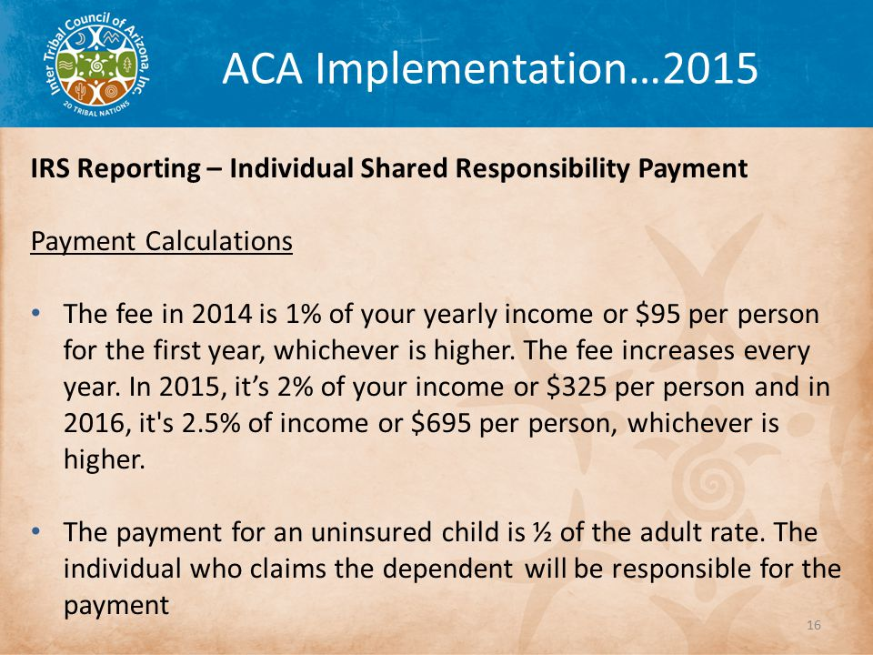 ACA Implementation…2015 IRS Reporting – Individual Shared Responsibility Payment Payment Calculations The fee in 2014 is 1% of your yearly income or $95 per person for the first year, whichever is higher.