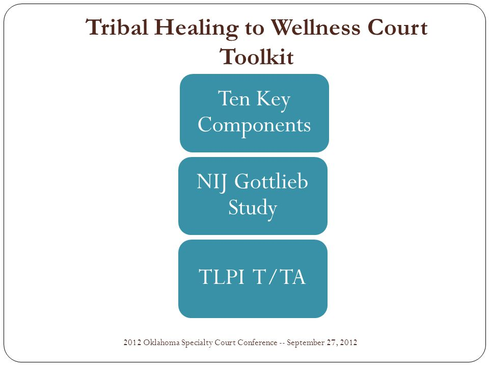 Ten Key Components of Tribal Drug Court Developed by the National Association of Drug Court Professionals Drug Court Standards Committee and adapted for Tribal Healing to Wellness Courts.