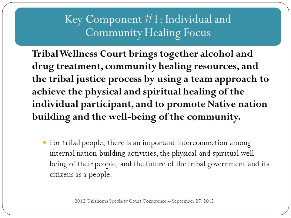Findings from the NIJ Wellness Court Study: Key Component #1 2012 Oklahoma Specialty Court Conference -- September 27, 2012 Detail team member responsibilities in written policies and procedures based on roles, not individuals.