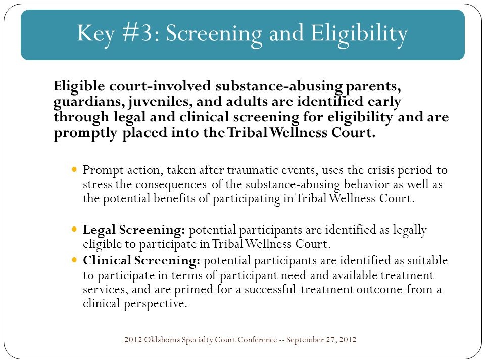 NIJ Wellness Court Study: Key Component #8 2012 Oklahoma Specialty Court Conference -- September 27, 2012 Specific and measurable goals that define the parameters of data collection and management should be established early.