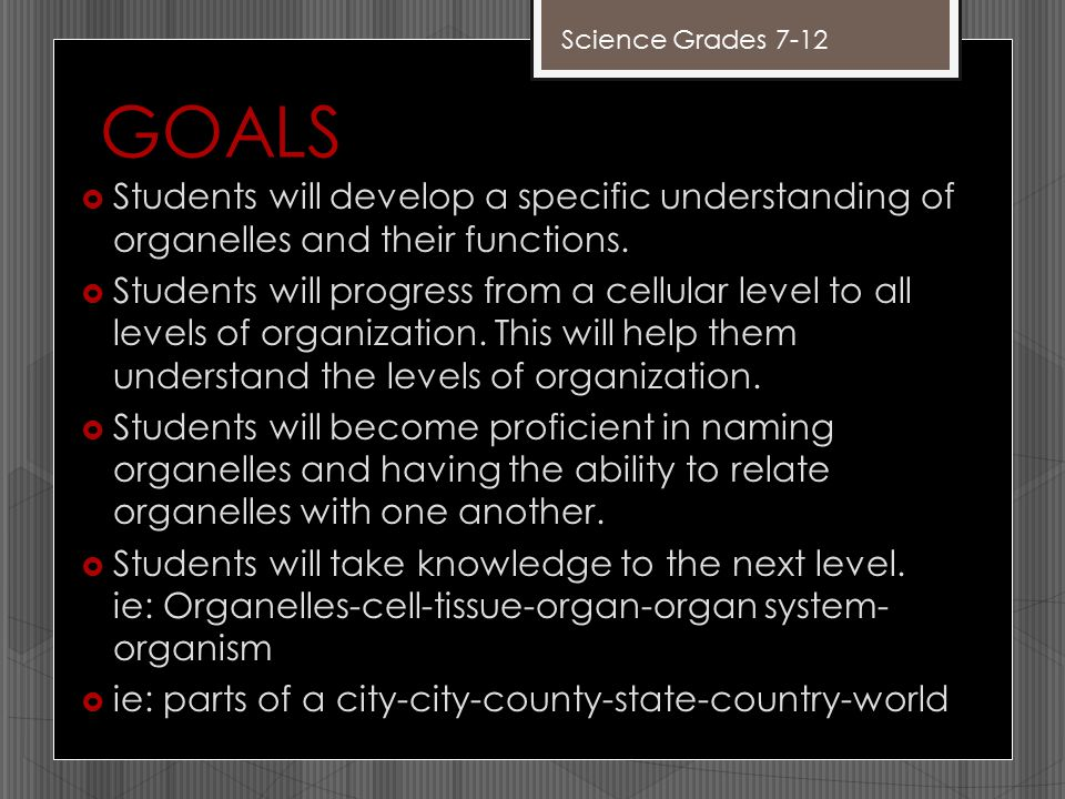 GOALS  Students will develop a specific understanding of organelles and their functions.  Students will progress from a cellular level to all levels
