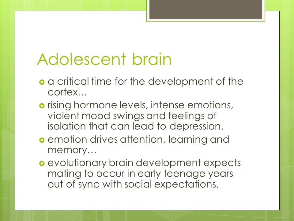 Adolescent brain  a critical time for the development of the cortex…  rising hormone levels, intense emotions, violent mood swings and feelings of isolation that can lead to depression.