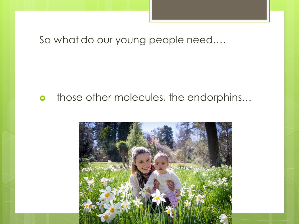 So what do our young people need….  those other molecules, the endorphins…