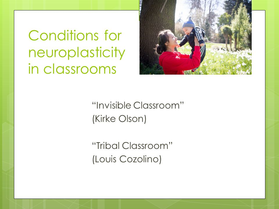 Conditions for neuroplasticity in classrooms Invisible Classroom (Kirke Olson) Tribal Classroom (Louis Cozolino)