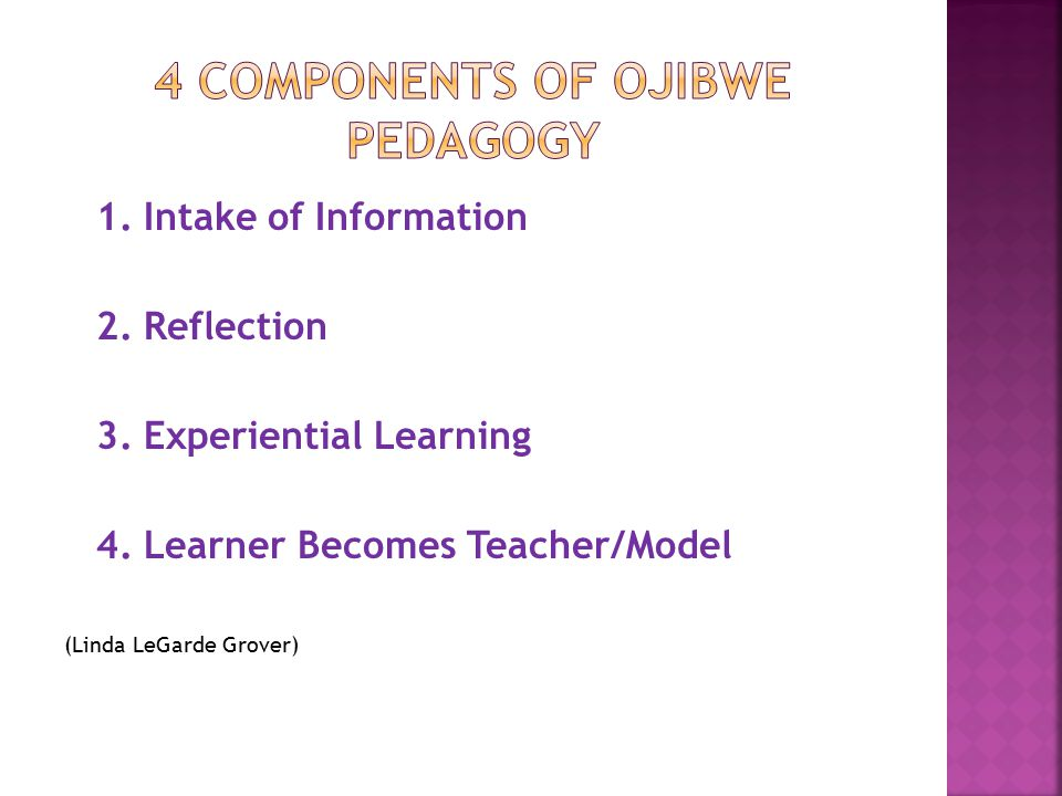 1. Intake of Information 2. Reflection 3. Experiential Learning 4.