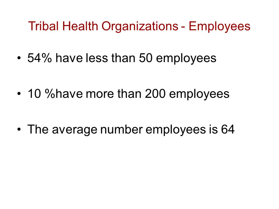 Tribal Health Organizations - Employees 54% have less than 50 employees 10 %have more than 200 employees The average number employees is 64