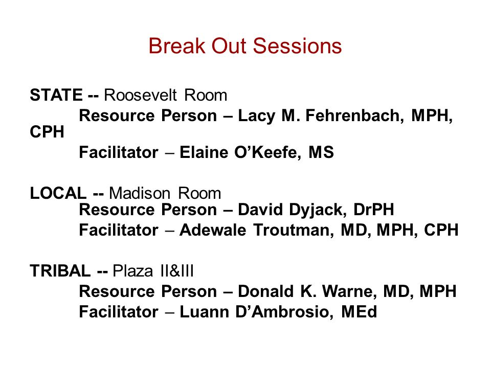 Break Out Sessions STATE -- Roosevelt Room Resource Person – Lacy M.
