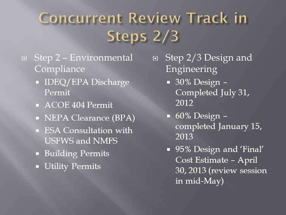  Step 2 – Environmental Compliance  IDEQ/EPA Discharge Permit  ACOE 404 Permit  NEPA Clearance (BPA)  ESA Consultation with USFWS and NMFS  Buil