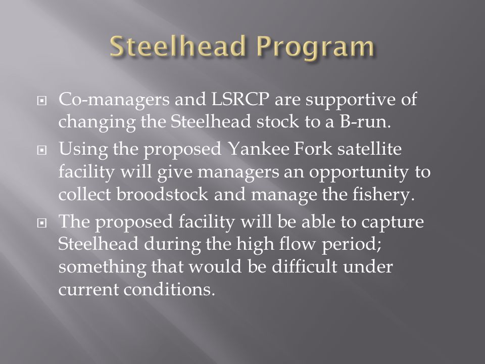  Co-managers and LSRCP are supportive of changing the Steelhead stock to a B-run.  Using the proposed Yankee Fork satellite facility will give manag