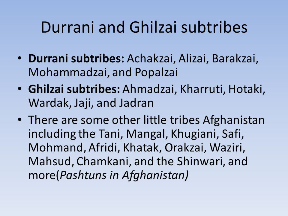 Map of the tribes and their subtribes in Afghanistan As you can see, the Durrani and it subtribes are located in the south of Afghanistan.